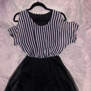 Cold shoulder stripe dress with mesh